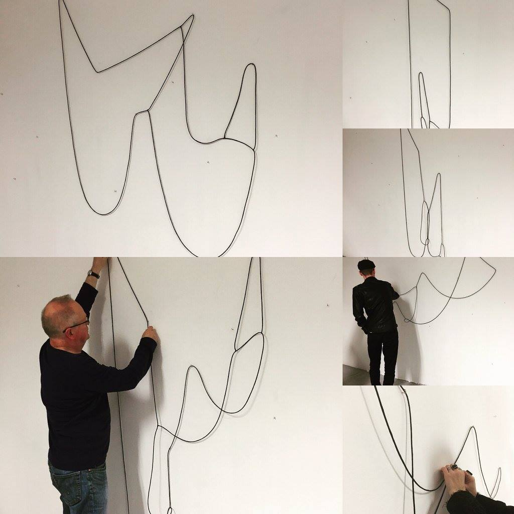 Hanging Drawing (20 successive drawings, unique and unrehearsed), 2015, lead, rubber, acrylic, hardware, dimensions variable
